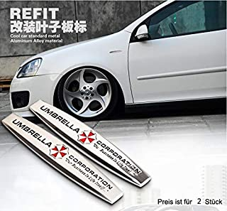 2 stk. Umbrella Corporation Seite Emblem B100 Badge auto aufkleber 3D car Sticker metal