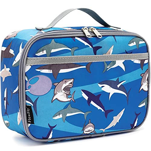 FlowFly Kids Lunch box Insulated Soft Bag Mini Cooler Back to School Thermal Meal Tote Kit for Girls, Boys,Women,Men, Shark