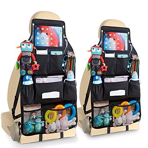 KALIDI Organizador de asiento de coche mejorado con 4 capas, 10 bolsillos para iPad de hasta 10,5 pulgadas, protector impermeable para asiento trasero, protección para niños, color negro, 2 unidades