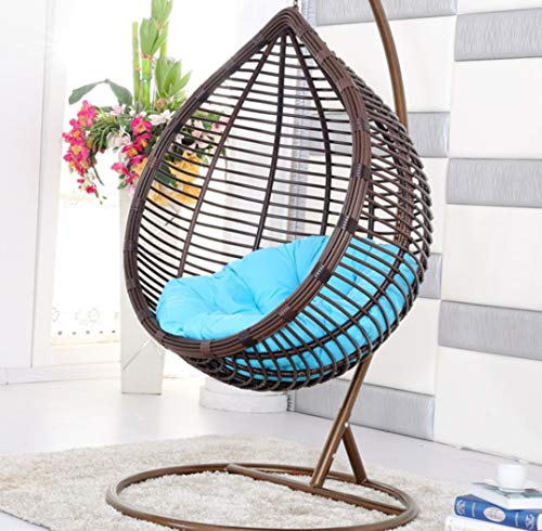 Afjyar Large bird's nest hanging chair wicker chair outdoor balcony living room leisure wicker chair hanging basket hanging chair brown