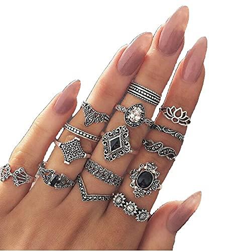 15Pcs Ring Set for Women and Girls Bohemian Knuckle Rings Fashion Boho Bohemian Vintage Retro Silver-tone (15 Pcs a set)