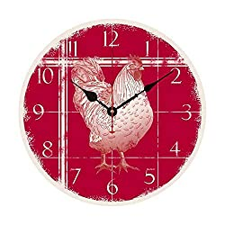 EnjoyHome Chicken Rooster Farmhouse Decor Wall Hanging Clock Decoration French Country Design 12 inch Wood Clock