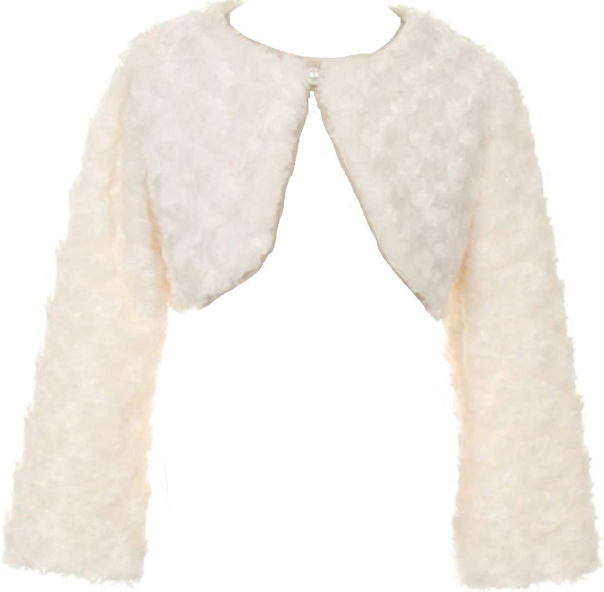 Little Girls Cute Fluffy Chenille Button Top Bolero Jacket Knit Sweater