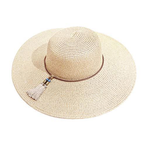 accsa Strohhut Damen Faltbarer Hut aus Stroh Sonnenhüte mit Breite Krempe Strandhut UV Schutz Verstellbarer Sommerhut