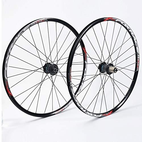 Ultraligero 26 pulgadas Juego de ruedas de bicicletas de montaña, híbrido de doble pared ultraligero de fibra de carbono MTB Cuenca del freno de disco 24 Agujero Disco 7 8 9 10 100 mm Velocidad Actuac