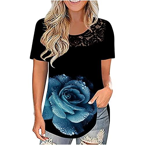 neiabodos Blouse - Camiseta de manga corta para mujer, de manga corta, con estampado de arcoíris