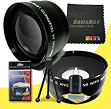 77mm Wide Angle + 2x Telephoto Lenses for Sony Alpha SLT-A37 with Sony 24-70 f/2.8 Carl Zeiss Lens + DavisMAX Fibercloth Deluxe Lens Bundle