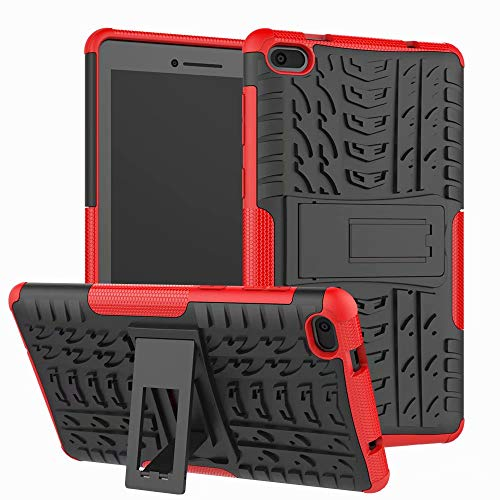 XITODA Lenovo Tab E7 Funda, Armor Style Hybrid PC + TPU Protective Case with Stand for Lenovo Tab E7 TB-7104F Tablet 2018 Cover Protection Rosso