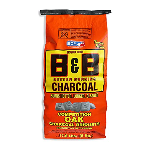 B&B Charcoal Slow Burning Oak Charcoal Briquettes with All Natural Smoky Flavoring for Grills,...