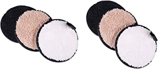 D DOLITY Pack of 6 Round Facial Cleansing Pads Fiber Fluff 11.5 cm Reusable Makeup Remover Puff Sponge - 3 Colors 3 Usage