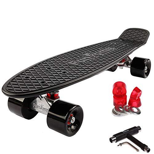 FunTomia Mini Board monopatín Skateboard 57cm - con o sin LED Ruedas - Wheel 59mmx45mm (82A) - Rodamiento ABEC-11 (Negro/Negro - sin LED + T-Tool)