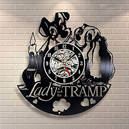 Lady and The Tramp Vinyl Record Wall Clock - Decorate Your Home with Modern Large Art - Gift For Kids, Girls and Boys - W