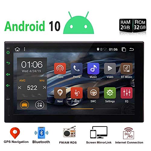 """EINCAR Android 10.0 Car Radio Player 2 Din Android Head Unit with Bluetooth 7"""" Touchscreen Double Din Car Stereo Video Player GPS Navigation System Support WiFi, Mirror Link,OBD2,USB, SD,SWC"""