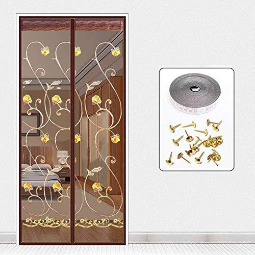 MU Puerta de Brown Persianas Y Pantallas 90X210Cm 35X82Inches Netting/Insectos para Los Mosquitos Cortina de Windows para Balcón Puertas Correderas de la Sala, Fácil de Instalar sin Necesidad de Ta