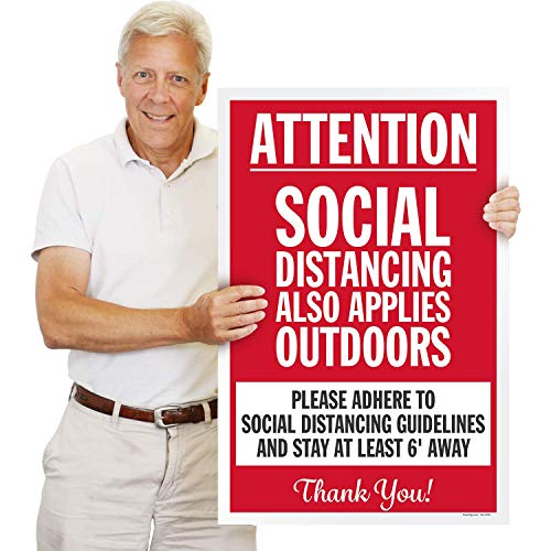 SmartSign Large Social Distancing Sign - Also Applies Outdoors, 24x36 Inches, Please Adhere to Distancing Guidelines and Stay 6 Feet Away Sign, Corrugated Plastic, High Resolution Printing