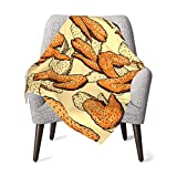 Blanket Chicken Wings Pattern Super Soft Light Weight Cozy Warm Fluffy Plush Blanket for Bed Couch Living Room