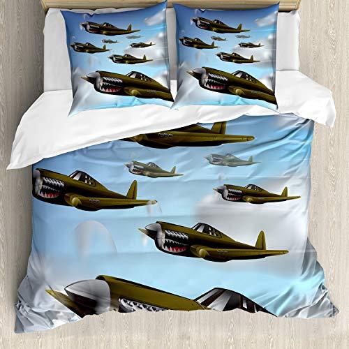 ABAKUHAUS Vliegtuig Dekbedovertrekset, Vliegtuigen in de lucht, Decoratieve 3-delige Bedset met 2 Sierslopen, 155 cm x 220 cm, Blauw Groen Grijs
