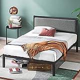 ZINUS Korey Metal Platform Bed Frame with Upholstered Headboard / Wood Slat Support / No Box Spring / Easy Assembly, Full