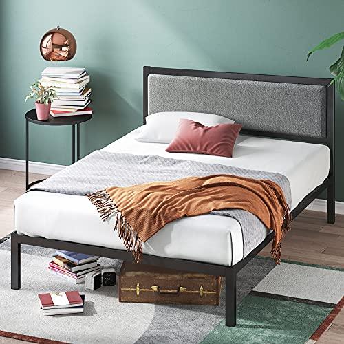 Zinus 14 Inch Platform Metal Bed Frame with Upholstered Headboard / Mattress Foundation / Wood Slat Support, King