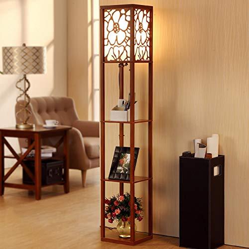 Iluminación interior 1,6 m lámpara de pie de madera con estantes para dormitorio sala de estar (sin bombilla) (nogal)