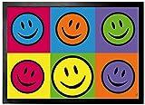 1art1 Emoticonos - Smiley Color Blocking, Warhol Style Pop Art Felpudo Alfombra (70 x 50cm)