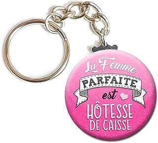 Porte Clés Chaînette 3,8 centimètres la Femme Parfaite est Hôtesse de Caisse Idée Cadeau Accessoire Épouse Conjointe Saint...