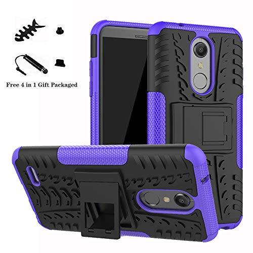 LiuShan LG K10 2018 Hülle, Dual Layer Hybrid Handyhülle Drop Resistance Handys Schutz Hülle mit Ständer für LG K10 2018 Smartphone(mit 4in1 Geschenk verpackt),Lila