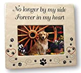 Pet Memorial Ceramic Picture Frame - No Longer By My Side Forever in My Heart - Pet Loss Gifts - Pet Photo Frame - Pet Sympathy Gift - In Memory of a Pet