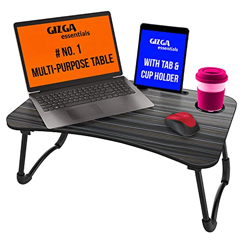 Gizga Essentials Multi-Purpose Portable & Foldable Wooden Desk for Bed Tray, Laptop Table, Study Table (Black)