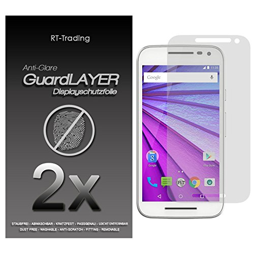 2x Motorola Moto G (3. Generation) - Bildschirm Schutzfolie Matt Folie Schutz Bildschirm Anti Glare Screen Protector Bildschirmfolie - RT-Trading