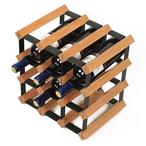 Botellas de botellero, botellero, 12 botellas de madera maciza Soporte de botella independiente Soporte de exhibición Decoración Creativa Gabinete de vino Cocina Bar Sala de estar Estante de vino