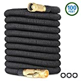 EcoEarth 100 Ft Expandable Garden Hose, Premium Flexible Water Hose with 3/4'' Nozzle Solid Brass Connector and Double Layer Latex, Lightweight Durable Expanding Hose