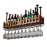 DAKEUR del Vino del Colgante del Techo, Colgante de Pared de Madera del Metal |Estante de Almacenamiento con Estante de Pared |Estante para Botellas de Vino |Vitrina Estilo Retro Rural (tamaño: