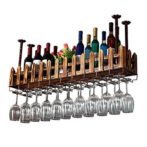 IF.HLMF Estantería para colgar en el techo o en la pared, de madera y metal, estantería de pared para almacenamiento, soporte para botellas de vino, botellero de estilo retro (tamaño: 60 x 20 cm)