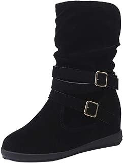 Creazrise Women Round Toe Mid-Calf Boots Fashion Flat Buckle Riding Boot Ladies Hidden Heel Booties (Gray,7)