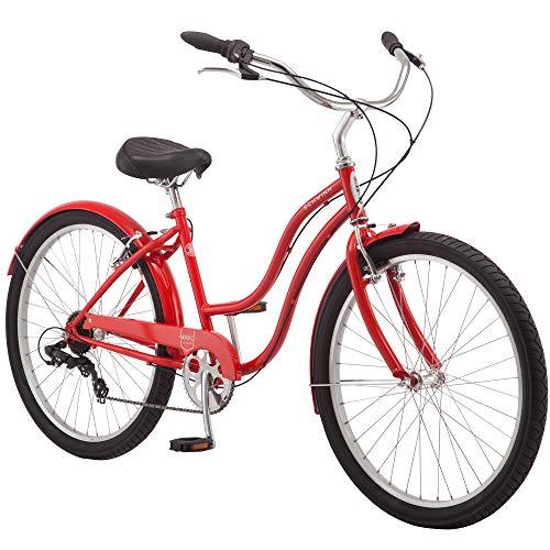 Schwinn Mikko Adult Beach Cruiser Bike, Featuring 17-Inch/Medium Steel Step-Over Frames, 7-Speed Drivetrains, Red