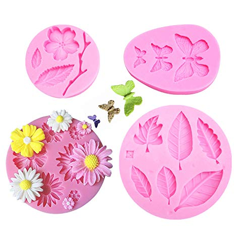 4 Pcs Flower Candy Molds Chocolate Molds Polymer Clay