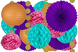 20 pcs Hanging Paper Party Decoration Supplies Kit in Orange, Pink, Purple, Teal, and Glitter Gold-Includes 4 Lanterns, 4 Pom Pom Flowers, 4 Tissue Fans, 4 Honeycombs, and 4 Strings of Dot Garland