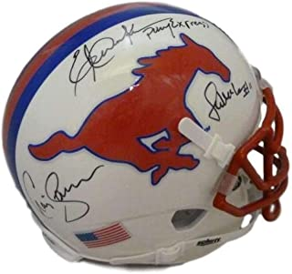 Pony Express Autographed SMU Mustangs Mini Helmet Dickerson McIlhenny JSA