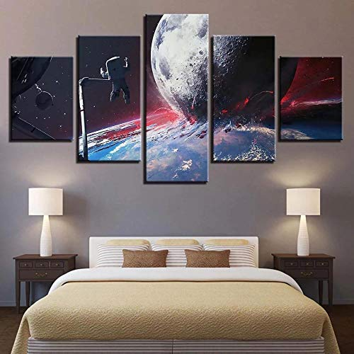 Planetwall Art for Living Room 5 Pieces of Artist Home Decoration Frame Wall Decoration Painting Living Room Bedroom Painting Ready to Hang-60 W X 32' H