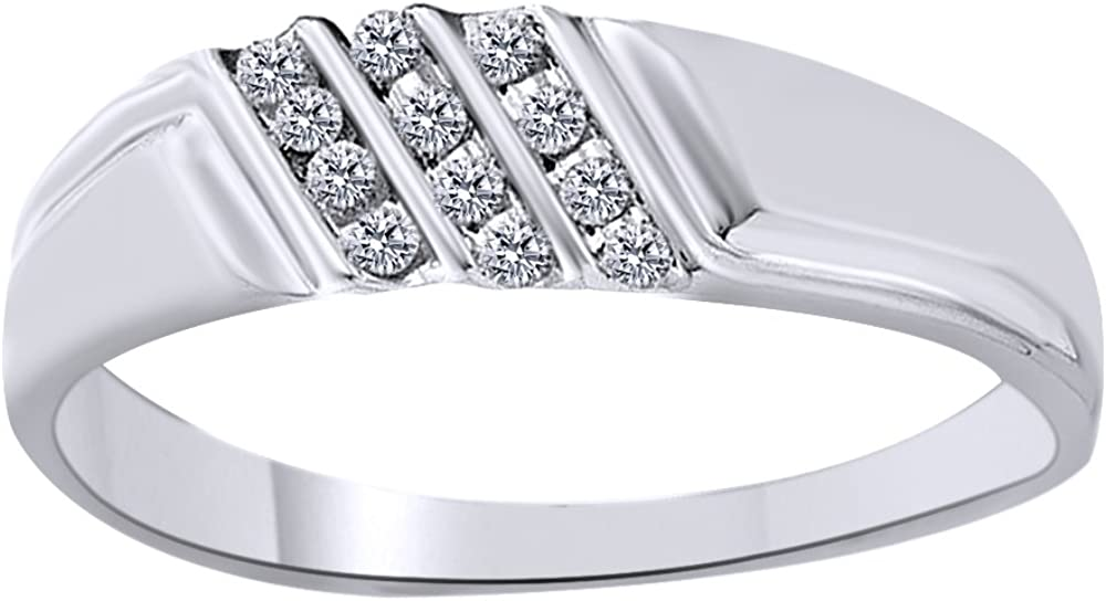 White Natural Diamond Anniversary Band Ring In 10K Solid Gold (0.12 Cttw)