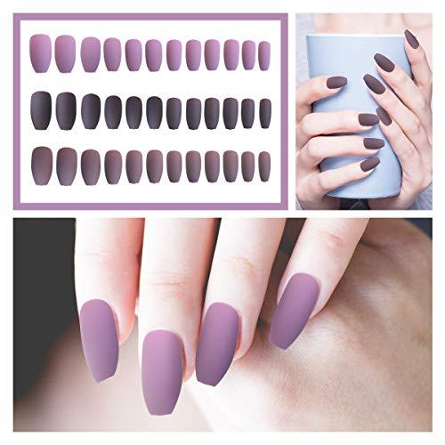24 Pcs x 3 Packs Acrylic Coffin Matte Press on Nails - Ballerina Professional Nail Art Set, Medium Length False Nails, DIY Fake Nails, Gift for Women(Purple, Dark Brown, Brown)