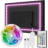 Zethot Retroilluminazione LED TV, strisce LED TV RGB da 3,5 M/11,5 FT con telecomando, con modalità multi scena, luci LED per monitor TV 40-65 pollici, alimentazione USB