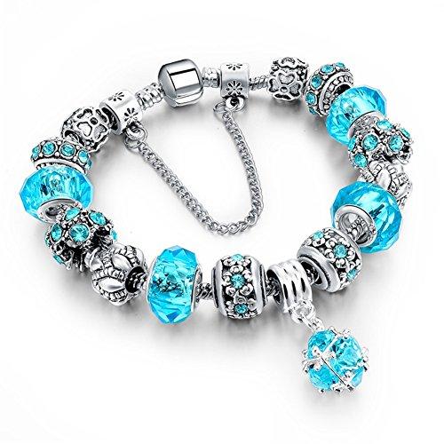Morbuy Pulsera Charms de Mujer, Pulsera Brazalete Plateado Plata del Encanto con los Granos Amor Cupido y Flores para la Boda de Las Mujeres de Cumpleaños (20 cm, Azul)