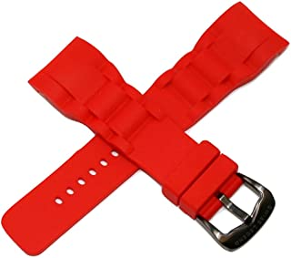Swiss Legend 30MM Red Silicone Watch Strap Stainless Gunmetal Gray Buckle fits 46mm Commander Pro Watch