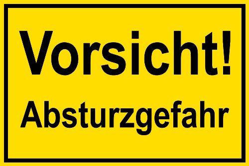 Warnschild - Vorsicht! Absturzgefahr - Kunststoff - 20 x 30 cm