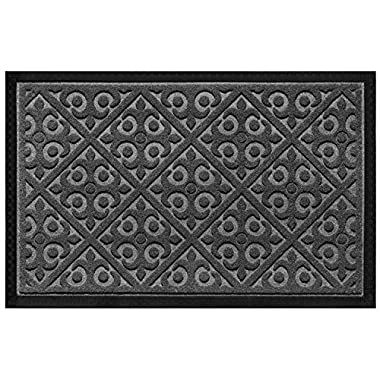 Door Mat Indoor Outdoor Doormats Outside Effective Scraping of Dirt Patio Grass Moisture Snow Dust Grit Removal Ideal Low Profile Doormat Front Door Entrance Mat Gray Rug Non Slip Rubber 17.5''x 27''