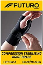 Futuro Energizing Wrist Support, Helps Relieve Symptoms of Carpal Tunnel Syndrome, Moderate Stabilizing Support, Left Hand, Small/Medium, Black