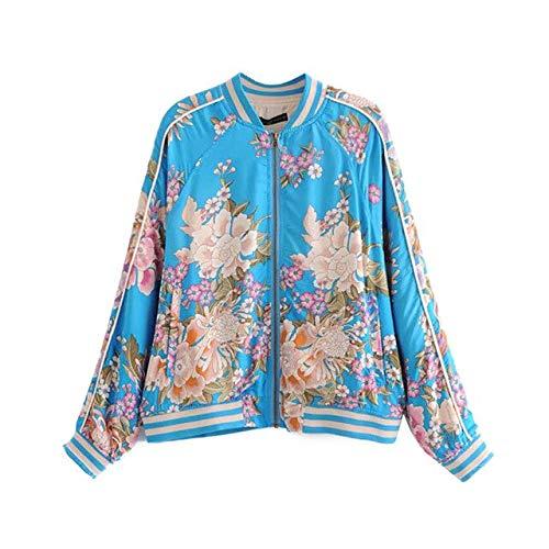 NCKLY Jacke mit Damenprint Blumendruck Bomberjacke Mantel Frauen V-Ausschnitt Langarm Damen Oberbekleidung Femme Tops