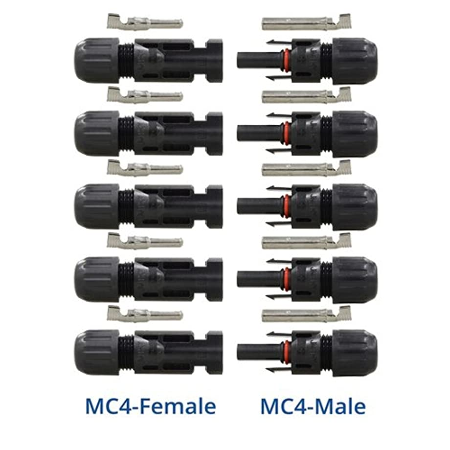 RENOGY 5 Pair MC4 Male/ Female Solar Panel Cable Connectors Double Seal Rings for Better Waterproof Effect